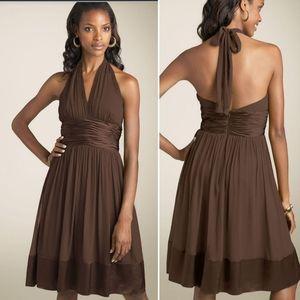 Maggy London Brown Silk Chiffon Halter Dress 6